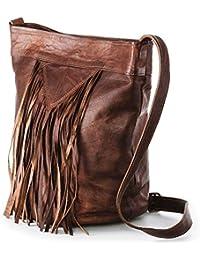 c8c8415387afe Nama  Marisa  Shopper Fransentasche Echtes Leder Umhängetasche für Damen  Vintage Beuteltasche Handtasche Schultertasche Look