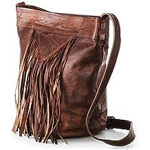 7438e5fd157f1 Nama  Marisa  Shopper Fransentasche Echtes Leder Umhängetasche für Damen  Vintage Beuteltasche Handtasche Schultertasche Look