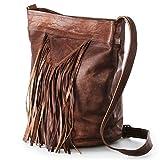 Nama 'Marisa' Shopper Fransentasche Echtes Leder Umhängetasche für Damen Vintage Beuteltasche Handtasche Schultertasche Look Multitasche Naturleder Braun