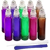 Botellas de cristal de 10 ml, para aceites esenciales, aromaterapia, fragancia, con abrebotellas y cuentagotas, ideal para uso doméstico y de viaje (5 colores)