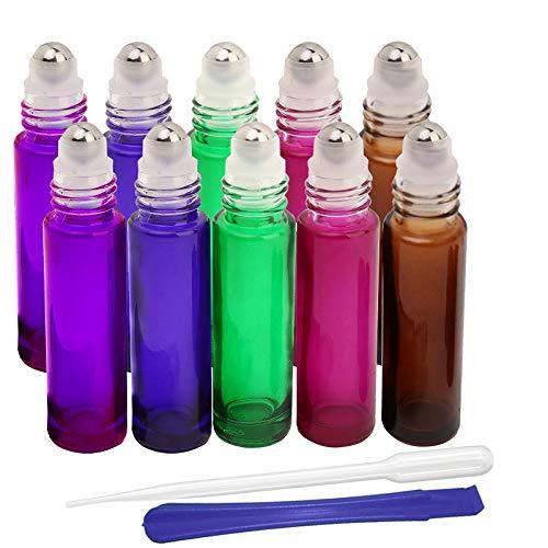 JHD Nachfüllbarer Behälter für ätherische Öle, Aromatherapie, Duft, mit Flaschenöffner und Tropfer, ideal für Zuhause und Reisen, 5 Farben -