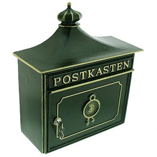BURG-WÄCHTER, Alu-Guss-Briefkasten mit Komfort-Tiefe, A4 Einwurf-Format, Bordeaux 1895 GR, Grün