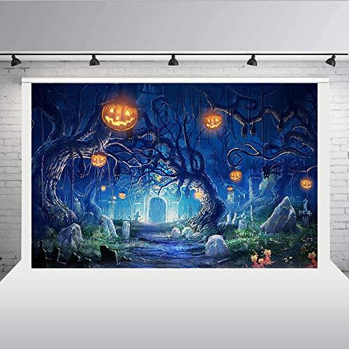 Aisnyho Halloween-Hintergrund, Kürbis-Fotografie, Hintergrund für Party-Dekoration, Bilder 12,7 x 2,1 m