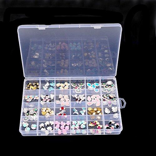 Schreibtisch Aufbewahrung Organizer, tianranrt Kunststoff 24Raster verstellbar Schmuck Perlen Medizin Pillen Nail Art Tipps Aufbewahrungsbox Organizer Container Box Case, plastik, farblos, 13.5x19.5cm (Storage Container 24 X 24)