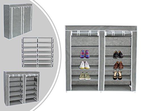 Leogreen - Stoffschrank, Faltbarer Camping-Kleiderschrank, 2 Türen, Schuhschrank, 114 x 110 x 28 cm, Grau, Material: Edelstahlrohre