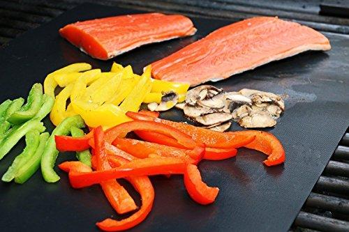 51keoH4RV8L - EXTSUD BBQ Grillmatten, 5er Set BBQ Antihaft Grill-und Backmatte Wiederverwendbar PFOA-Frei - Toll über Kohle, Gas und Weber Style Grills - Perfekt für Fleisch, Fisch und Gemüse 40x33 cm MEHRWEG