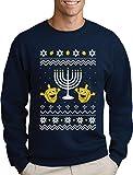 Ugly Christmas Hanukkah Sweater Happy Holidays Sweatshirt Medium Navy