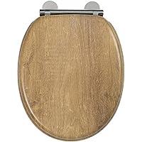 Croydex Flexi-Fix Ontario adapté à ne jamais SE glisse Fermeture lente Abattant de WC, effet de teck, bois, effet en teck vieilli, 45x 37.8x 6cm