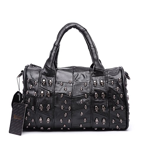 Price comparison product image Jonon 12.6 Inch Women's Lambskin Doctor Style Handbag Skull Studded Shoulder Satchel Bag