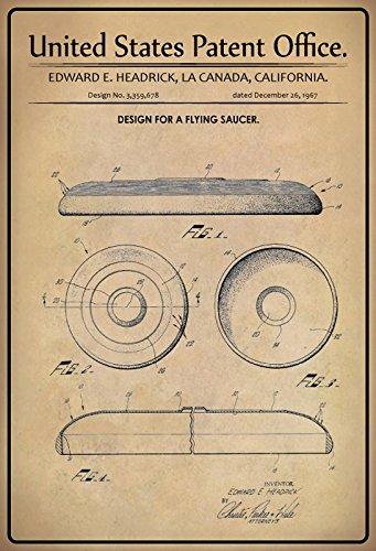 ComCard US Patente - Design for a Flying Saucer - Entwurf für Fliegende Untertasse - headrick, California 1967 - Design No 3.359.678 - schild aus blech, metal sign, tin (Flying Metal Sign)