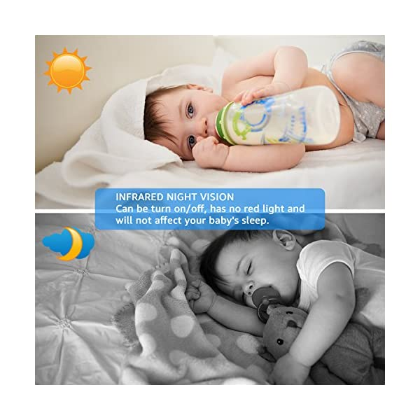 "BIGASUO Video Baby Monitor 2018 with Camera & 720P 7"" HD LCD Digital Screen, Two Way Audio & 5 Baby Lullabies, Sound & Movement Alarm, Night Vision, Wireless Video Baby Monitor BIGASUO 【7'' Large Color LCD Display】The BIGASUO baby monitor offer you the clearest visual experience with the 7'' high-quality LCD HD screen and 2.4G HZ WiFi connection technology. 【5 Built-in Lullabies and Night Vision】Gentle lullabies help baby get into sweet dreams soon. View your baby and the room in low light even dark surroundings. 【Two-way audio communication】You can use the speaker of our baby monitor to talk to your cute baby and hear their replies at any time. 5"
