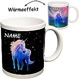 alles-meine GmbH 3 Stück _ magische Farbwechsel - Wärme Thermoeffekt _ Henkeltassen / Kaffeetassen -  Einhorn mit Regenbogen & Sterne  - inkl. Name - groß - 330 ml / 0,33 Li..