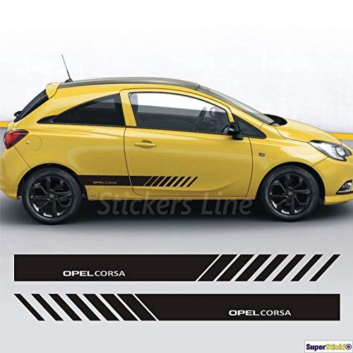SUPERSTICKI Opel Corsa Seitenstreifen Auto Aufkleber Aufkleber Sticker Decal aus Hochleistungsfolie Aufkleber Autoaufkleber Tuningaufkleber Racingaufkleber Rennaufkleber Hochleistungsfolie