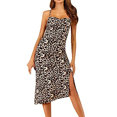 Mitte Der Wade Kleid (Damen Blume Bandage Kleid, LeeMon Frauen Leopardenmuster Leibchen Mitte der Wade Kleid Damen sexy Partykleid)