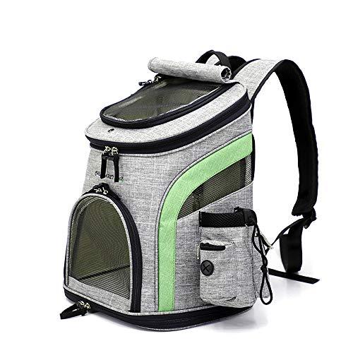 ubest Faltbarer Haustier Reise Rucksack, Hunderucksack mit Netzfenster, Transporttasche für Kleine Hunde und Katzen, Grün, L