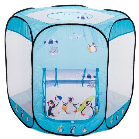 aussergewoehnlich® Sommer Pinguine großes Bällebad pop up Zelt mit 100 bunten Bällen