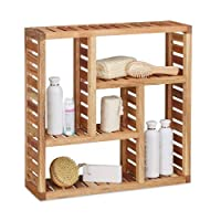 Relaxdays Walnut Wall Cabinet with 5 Compartments, for the Bathroom, Hallway and Living Room, Storage Unit, Size: 50 x 15 x 15 cm, Natural Brown, 15x50x50 cm