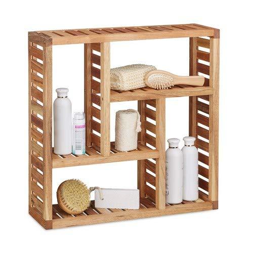 Relaxdays Wandregal Walnuss mit 5 Fächern, für Badezimmer, Flur und Wohnzimmer, Stauraum, HxBxT: 50 x 50 x 15 cm, natur -