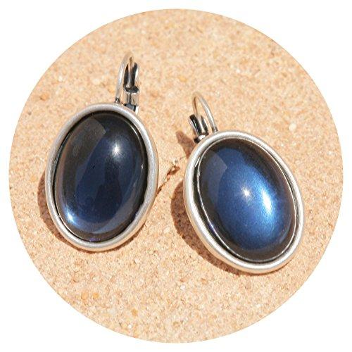 artjany ovaler Ohrring montana blau silber (Montana Silber Ohrringe)