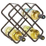 mDesign Estante para botellas y vino - Bonito botellero de metal en tres niveles con capacidad para hasta 5 botellas - Mueble botellero de pie para botellas de vino y otras bebidas - color bronce