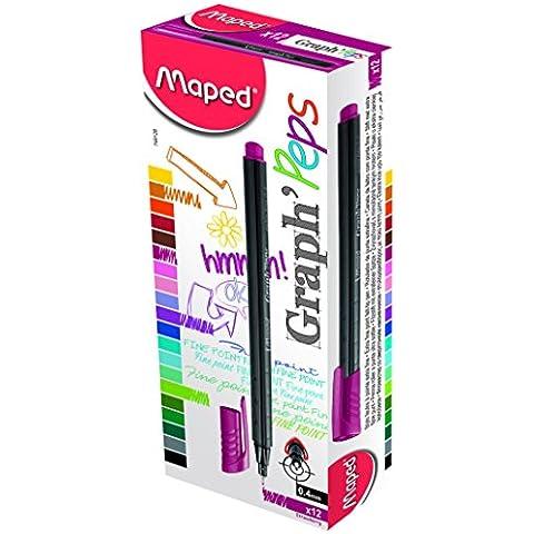 Maped 749126 Graph Peps-Penna a tratto fine, fragola, confezione da 12 pezzi