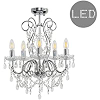 Modern 5 Way Silver Chrome Ceiling Light Chandelier Fitting with Clear K5 Genuine Lead Crystal Droplets - Complete with 4w LED Filament Candle Bulbs [2700K Warm White]