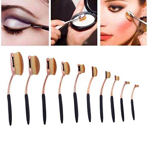 Vishine Pinceaux Maquillage Brosses à dents 10 Pièces Ensemble brosse à dents Coffret Set,pour Ovale Professionnels pour les Poudres, Anticernes, Contours, Fonds de Teints, et Eyeliner