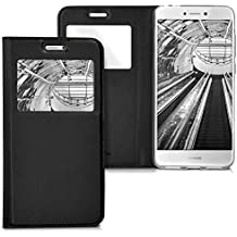 kwmobile Funda para Huawei P8 Lite (2017) - Case estilo libro de cuero sintético con ventanilla - Flip Cover plegable negro