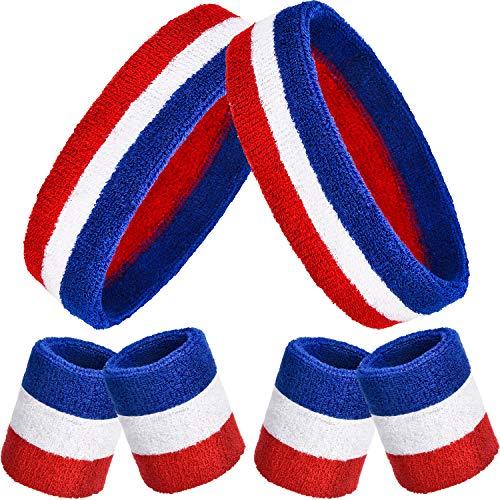 6 Stück Gestreifte Schweißbänder Set, Enthält 2 Stück Sport Stirnband und 4 Stück Armbänder Schweißbänder Bunte Baumwolle Gestreiften Schweißband Set für Männer und Damen (Rot, Weiß und Blau) (Rot, Weiß, Blau, Stirnband)