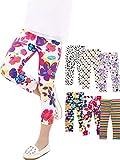 6 Pezzi Ragazze Stampa Collant Stretchy Leggings Capri Tagliato Pantaloni per Bambini, 6 Colori (4T/5T)