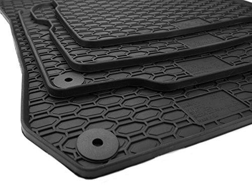 kfzpremiumteile24 Gummimatten Original Qualität Fußmatten Gummi schwarz 4-teilig rund Druckknopf