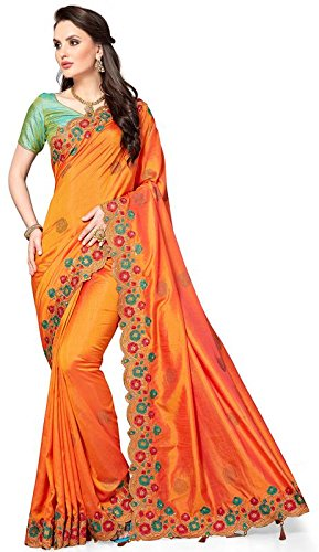 M.S. Retail Silk Saree With Blouse Piece (SU-RX-4439_1_Orange_Free Size)
