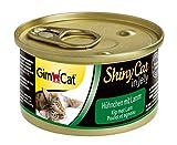 GimCat ShinyCat in Jelly – Katzenfutter mit Hühnchenfleisch in Gelee für ausgewachsene Katzen – ohne Zuckerzusatz – Hühnchen mit Lamm – 24 Dosen (24 x 70 g)