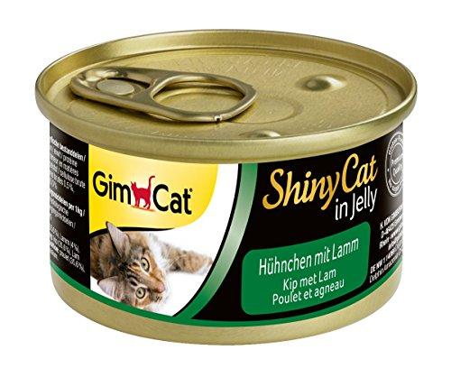 GimCat ShinyCat in Jelly Katzenfutter, mit Geflügel in Gelee für ausgewachsene Katzen, Hühnchen mit Lamm, 24 Dosen (24 x 70 g) (Lamm Katzenfutter In Dosen)