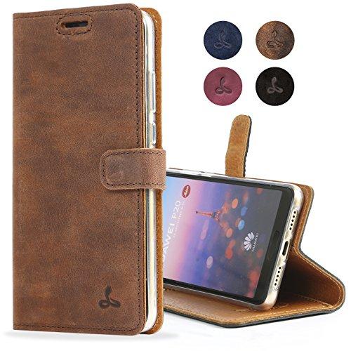 Snakehive Huawei P20 Schutzhülle/Klapphülle echt Leder Kartenfach mit Standfunktion, Handmade in Europa Bye Huawei P20 (Braun)