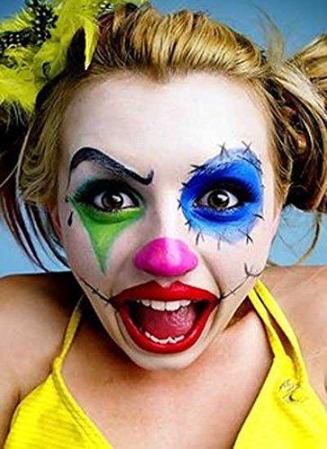 Halloween Colourful Clown Make Up Set - 1x Red Lipstick, 1x Black Eyeliner, 1x Green Pressed Powder, 1x Blue Pressed Powder, 1x Pink Pressed Powder by Halloween