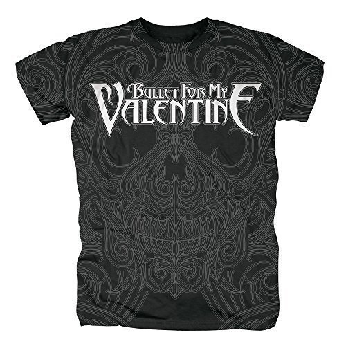 BULLET FOR MY VALENTINE - LINED SKULL (ALLOVER) - T-SHIRT UFFICIALE UOMO - Nero, Medium
