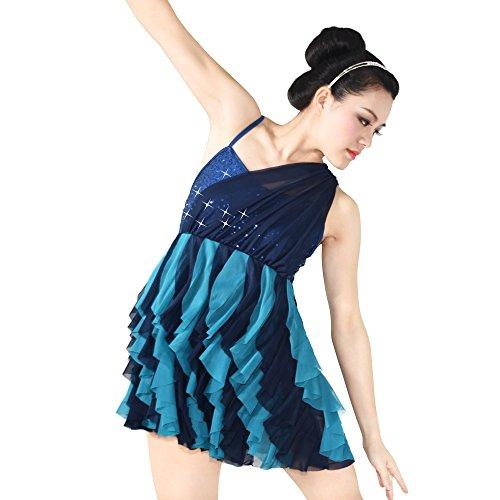 Tanz Kostüm Latin Kleid Pailletten Lyrischen Partei Trägt Kleidung (Blau, SA) (Lyrische Kleid Dance Kostüme)