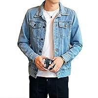 Men Denim Jacket Coats Fashion Cowboy Outwear Streetwear 3XL(Sky-blue,S)