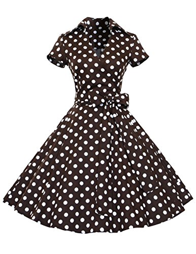 Dresstells Rockabilly Kleid 1950er Retro Polka Dots Kurz Faltenrock Petticoat Cocktailkleid Chocolate Dot XS (Rock Polka Baumwolle Dots)