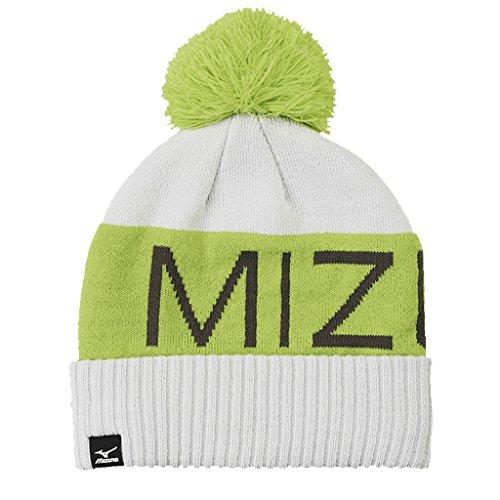 Mizuno 2016 Big Logo Wordmark Mens Golf Bobble Beanie Winter Knitted Hat Lime Punch/Castlerock Large/XL