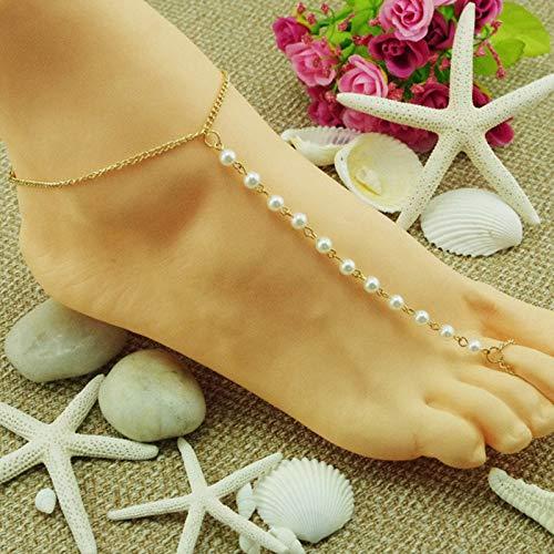 SonMo Damen Fußkettchen Perlen Fußkettchen Gold Anklet Chain Zehenringe Bohemian Fußschmuck Knöchel Kette Einstellbar Zehenkette Länge 30Cm