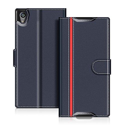 COODIO Sony Xperia Z5 Hülle Leder Lederhülle Ledertasche Wallet Handyhülle Tasche Schutzhülle mit Magnetverschluss/Kartenfächer für Sony Xperia Z5, Dunkel Blau/Rot