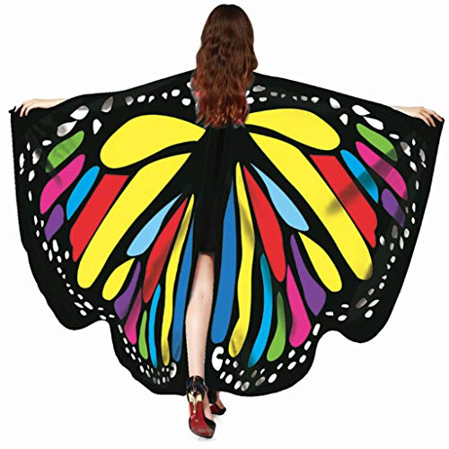 Xmiral Damen Schmetterling Flügel Schal Schmetterling Kostüm Zubehör Poncho Kostümzubehör(Rot)