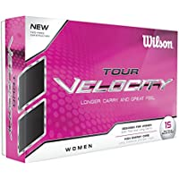 Wilson Staff, Bola de golf blanda, 2 capas, Mujer, Para máxima distancia, Pack de 15, Baja compresión, Cobertura de ionómero suave, Tour Velocity Women, Blanco, WGWR60400