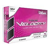 Wilson Staff, Weiche 2-Piece Damen Golfbälle für weite Distanzen, 15er-Pack, Niedrige Kompression, Weiche Ionomerhülle, Velocity, Weiß, WGWR60400