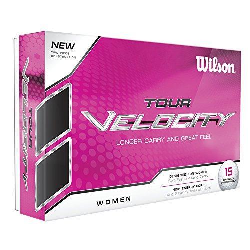 Wilson Staff WGWR60400, Femme Balle de Golf Souple en 2 Pièces pour une Distance Maximale, Boîte de 15, Faible Compression, Coquille en Lonomère, Tour Velocity Women, Blanc