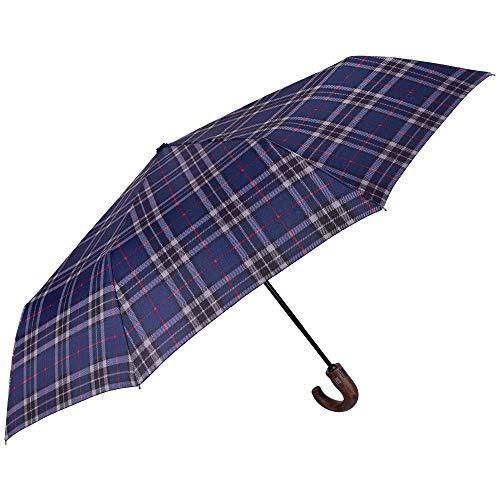 Ombrello pieghevole scozzese da uomo antivento con manico curvo legno - mini tascabile resistente in fibra di vetro - pfc free - apri chiudi automatico - diametro 104 cm - perletti technology (blu)