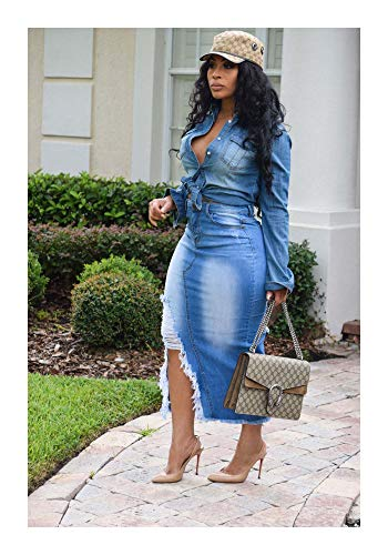 DROTYK& Women Ripped Jeans Hollow Out Casual Bodycon Club Party Tassel Slit Denim Dress Blue L