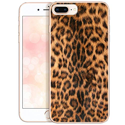 OOH!COLOR Collection 2019 Handyhülle kompatibel mit iPhone 7 Plus iPone 8 Plus Hülle mit Motiv dünn Bumper Silikon Schutzhülle durchsichtig Case Leopard (EINWEG) - Plus Leopard
